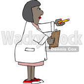 Cartoon Black Female Scientist Holding out a Pencil and Clipboard © djart #1647270