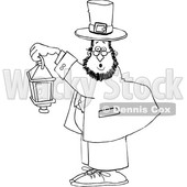 Cartoon Black and White St Patricks Day Leprechaun Holding a Lantern © djart #1647981