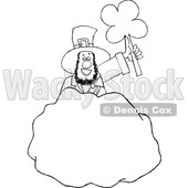 Cartoon Black and White St Patricks Day Leprechaun Holding up a Shamrock Behind a Rock © djart #1647983