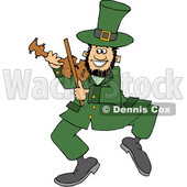 Cartoon St Patricks Day Leprechaun Playing a Fiddle © djart #1647986