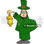 Cartoon St Patricks Day Leprechaun Holding a Lantern © djart #1647987