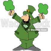 Cartoon St Patricks Day Leprechaun Holding Shamrocks © djart #1647991