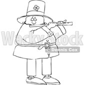 Cartoon Black and White St Patricks Day Leprechaun Playing a Flute © djart #1648155