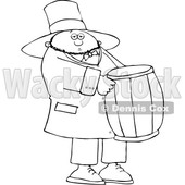 Cartoon Black and White St Patricks Day Leprechaun Carrying a Barrel © djart #1648158