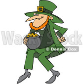 Cartoon St Patricks Day Leprechaun with a Pot of Gold © djart #1648160