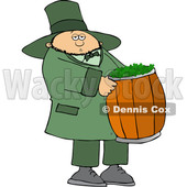 Cartoon St Patricks Day Leprechaun Carrying a Barrel of Shamrocks © djart #1648162