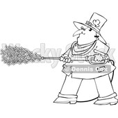 Cartoon Black and White Leprechaun Pressure Washing with Shamrocks © djart #1648696