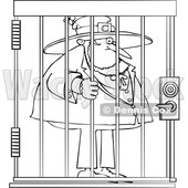 Cartoon Black and White Leprechaun in Jail © djart #1648883