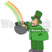 Cartoon Leprechaun Catching a Rainbow in a Pot © djart #1648885