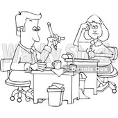 Cartoon Black and White Male and Female Accountants Hard at Work © djart #1651134