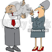 Cartoon White Business Man Waving Away Smoke from a Woman © djart #1651745