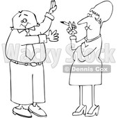 Cartoon Black and White Business Man Waving Away Smoke from a Woman © djart #1651746