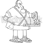 Cartoon Black and White Chubby Executioner Holding an Axe and Flail © djart #1651967