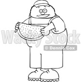 Cartoon Black and White Boy Holding Watermelon © djart #1652644