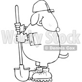 Cartoon Black and White Dog Worker with a Shovel © djart #1652645