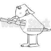 Cartoon Black and White Dog Using a Ruler © djart #1652646