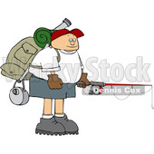 Cartoon Man Wearing a Backpack with Fishing Gear © djart #1652648