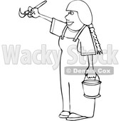 Cartoon Black and White Happy Female Painter © djart #1655191