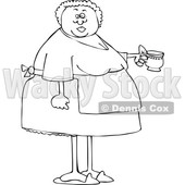 Cartoon Lineart Woman Wearing an Apron and Holding a Tea Cup © djart #1655916
