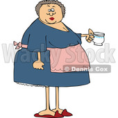 Cartoon Woman Wearing an Apron and Holding a Tea Cup © djart #1655919