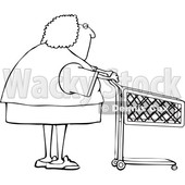 Cartoon Black and White Woman with a Shopping Cart © djart #1656314
