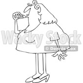 Cartoon Black and White Chubby Woman Applying Lipstick © djart #1656316