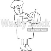 Cartoon Black and White Woman Holding and Looking at a Pumpkin © djart #1656317