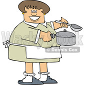 Cartoon Happy Caucasian Woman Holding a Spoon and Soup Pot © djart #1656318