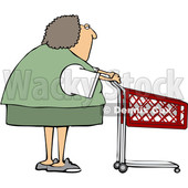 Cartoon Caucasian Woman with a Shopping Cart © djart #1656321