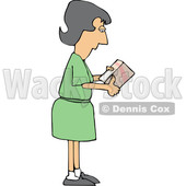 Cartoon Caucasian Woman Reading Ingredients on a Boxed Product © djart #1656322