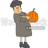 Cartoon Caucasian Woman Holding and Looking at a Pumpkin © djart #1656324