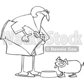 Cartoon Lineart Chubby Woman Feeding Her Dog © djart #1658983