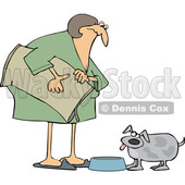 Cartoon Chubby Woman Feeding Her Dog © djart #1658985