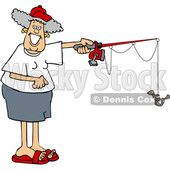 Cartoon Happy Woman Fishing © djart #1658986