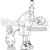 Cartoon Black and White Little Boy Poking a Basketball Player © djart #1659556