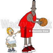 Cartoon Little Boy Poking a Basketball Player © djart #1659557