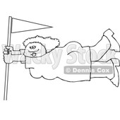 Cartoon Black and White Lady Holding onto a Flag Pole in Extreme Wind © djart #1660629