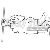 Cartoon Black and White Lady Holding onto a Pole in Extreme Wind © djart #1660631