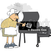 Cartoon White Man Cooking with a Smoker © djart #1661608