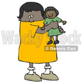 Little African American Girl Child Holding And Hugging Her Doll Toy While Playing Clipart Image Graphic © Dennis Cox #16617