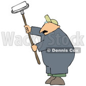 Middle Aged Caucasian Man Using A Paint Roller While Painting A Building Clipart Image Graphic © Dennis Cox #16618