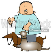 Little Caucasian Boy Walking His Small Weiner Dog, A Dachshund, And His Pet Ferret On Leashes Clipart Image Graphic © djart #16619