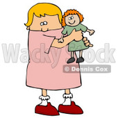 Little Blond Caucasian Girl Child Holding And Hugging Her Red Haired Doll Toy While Playing Clipart Image Graphic © Dennis Cox #16620