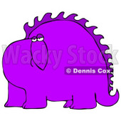 Big Purple Dinosaur With Spikes Along His Back, Looking At The Viewer With A Bored Or Sad Expression Clipart Image Graphic © Dennis Cox #16621