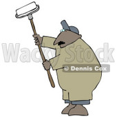 Middle Aged African American Man Using A Paint Roller While Painting A Building Clipart Image Graphic © djart #16622