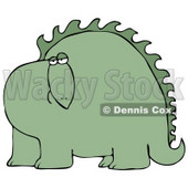 Big Green Dinosaur With Spikes Along His Back, Looking At The Viewer With A Bored Or Sad Expression Clipart Image Graphic © Dennis Cox #16626