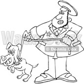 Cartoon Lineart Dog Catcher wIth a Pooch on a Leash © djart #1664050