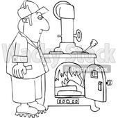Cartoon Lineart Man Watching a Fire Burn in a Wood Stove © djart #1665680