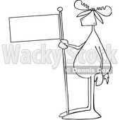 Cartoon Lineart Moose Holding a Blank Flag © djart #1665681