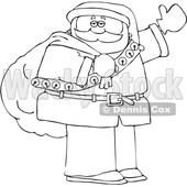 Cartoon Lineart Santa Claus Waving and Carrying a Christmas Sack © djart #1666025